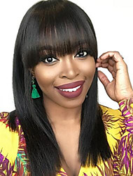 cheap -Human Hair Lace Front Wig Bob Short Bob style Brazilian Hair Silky Straight Black Wig 130% Density with Baby Hair Natural Hairline For Black Women 100% Virgin 100% Hand Tied Women's Short Human Hair