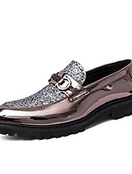 cheap -Men's Formal Shoes Leather / Faux Leather Spring & Summer Classic / British Loafers & Slip-Ons Height-increasing Color Block Black / Gold / Silver / Wedding / Party & Evening / Sparkling Glitter