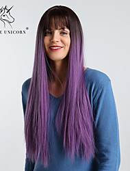 cheap -Synthetic Wig kinky Straight Natural Straight With Bangs Wig Long Very Long Black / Purple Synthetic Hair 28 inch Women's Simple Synthetic Ombre Hair Purple BLONDE UNICORN / Natural Hairline