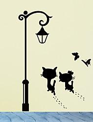 cheap -Cats UnderThe Street Light Wall Stickers Romantic Background for Home Decoration Mural Wallpaper Art Decals Love Cat Sticker
