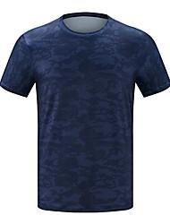 cheap -Men's Camo Hiking Tee shirt Short Sleeve Outdoor UV Resistant Breathable Ventilation Quick Dry Tee / T-shirt Top Spring Summer Polyester Taffeta Crew Neck Dark Blue Blue Grey Camping / Hiking