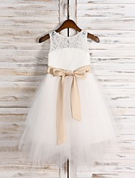 cheap -A-Line Tea Length Flower Girl Dress - Lace / Satin / Tulle Sleeveless Jewel Neck with Belt / First Communion