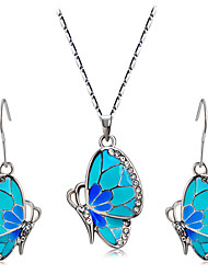 cheap -Women's Clear Cubic Zirconia Drop Earrings Pendant Necklace Butterfly Stylish Artistic Cute Silver Plated Imitation Diamond Earrings Jewelry Blue For Party Daily Formal 3pcs