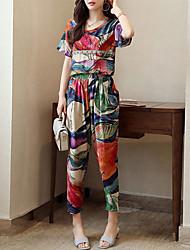 abordables -Femme Grandes Tailles Actif / Sophistiqué Manche Tulipe Set - Géométrique, Plissé / Imprimé Pantalon / Eté