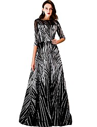cheap -A-Line Boat Neck Floor Length Tulle Sparkle / Black Prom / Formal Evening Dress with Sequin / Pattern / Print 2020