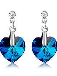 cheap -Women's Blue Crystal Drop Earrings Heart Romantic Fashion Cute Earrings Jewelry Royal Blue For Ceremony Evening Party Formal 2pcs