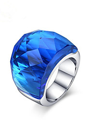 cheap -Women's Ring 1pc Blue Light Blue Light Green Stainless Steel Glass Round Fashion Gift Daily Jewelry Vintage Style Lovely
