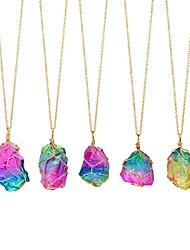 Недорогие -Жен. Танзанит Ожерелья с подвесками геометрический необработанный алмаз Проволочная упаковка Сердце Богемные Цветной энергия радужный Камень Цвет радуги 50 cm Ожерелье Бижутерия 1шт Назначение