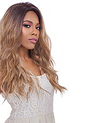 cheap -Ombre Natural Wave Free Part Wig Ombre Long Black / Strawberry Blonde Synthetic Hair 24 inch Women's Odor Free Elastic Classic Ombre