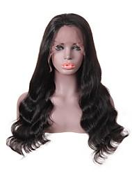 Недорогие -человеческие волосы Remy Лента спереди Парик Прически Венди Вилламс стиль Бразильские волосы Loose Curl Черный Парик 150% Плотность волос Для темнокожих женщин Жен. Длинные