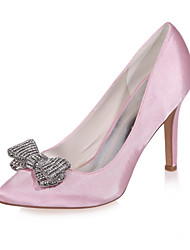 cheap -Women's Satin Spring & Summer Sweet Wedding Shoes Stiletto Heel Pointed Toe Rhinestone Pink / Champagne / Ivory / Party & Evening