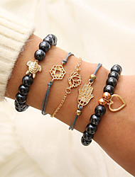cheap -5pcs Women's Layered Charm Bracelet Bead Bracelet Vintage Bracelet Heart Turtle Lotus Punk Fashion Bracelet Jewelry Gold For Gift Daily