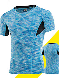 cheap -Men's Compression Shirt Short Sleeve Compression Base layer T Shirt Top Plus Size Lightweight Breathable Quick Dry Soft Sweat-wicking Blue Grey Golden+Silver Spandex Road Bike Mountain Bike MTB