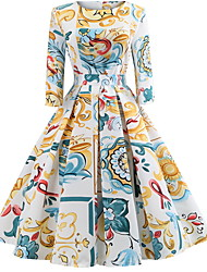 abordables -Femme Basique Mi-long Gaine Robe Géométrique Blanc Beige Jaune L XL XXL Manches Longues