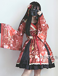 cheap -Gothic Dress Cosplay Costume Female Lace Japanese Cosplay Costumes Black / Red / Beige Print Lace Bell Sleeve Long Sleeve Above Knee