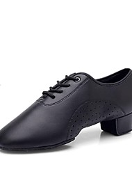 cheap -Boys' Latin Shoes Faux Leather Lace-up Heel Thick Heel Customizable Dance Shoes Black / Performance / Practice