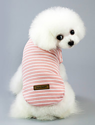 cheap -Dog Cat Pets Shirt / T-Shirt Holiday Decorations Striped Simple Stripes Casual / Daily Stripes Dog Clothes Red Pink Green Costume Cotton Fabric Cotton Jacquard Natural Sponges S M L XL XXL