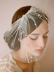 cheap -One-tier Pearl Wedding Veil Blusher Veils with Solid 10-20cm Fabric Swatch / Drop Veil