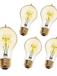 cheap -5pcs 40 W E26 / E27 A60(A19) Warm White 2200-2300 k Retro / Dimmable / Decorative Incandescent Vintage Edison Light Bulb 220-240 V