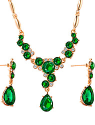 cheap -Women's Crystal Drop Earrings Pendant Necklace Briolette Drop Luxury Classic Vintage Earrings Jewelry Black / Green / Blue For Engagement Ceremony Evening Party 3pcs / pack