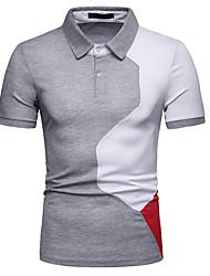 Недорогие -Муж. Контрастных цветов Тонкие Polo Рубашечный воротник Белый / Красный / Серый