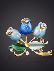 cheap -Women's Brooches Roses Flower Fashion Elegant Brooch Jewelry Purple Yellow Blue For Wedding Festival