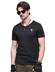 cheap -Men's Solid Color Hiking Tee shirt Short Sleeve Outdoor Breathable Fast Dry Stretchy Tee / T-shirt Top Summer Terylene Crew Neck Black Hunting Military / Tactical Camping / Hiking / Caving