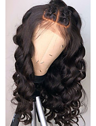 cheap -Remy Human Hair Lace Front Wig Free Part Rihanna style Brazilian Hair Wavy Loose Wave Black Wig 130% 150% 180% Density Soft Women Natural Hairline African American Wig Women's Long Human Hair Lace Wig