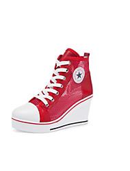 cheap -Women's Sneakers Wedge Heel Mesh Spring & Summer Black / White / Red