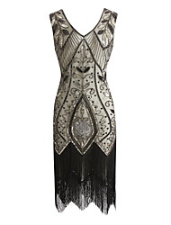 cheap -The Great Gatsby Charleston Vintage 1920s Flapper Dress Party Costume Masquerade Women's Sequins Tassel Sequin Costume Black / Red / black / Black & White Vintage Cosplay Party Prom Sleeveless