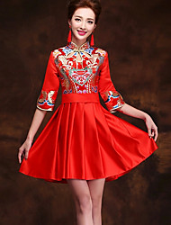 cheap -Adults' Women's Designed in China Chinese Style Wasp-Waisted Chinese Style Cheongsam Qipao For Performance Engagement Party Bridal Shower Cotton Above Knee Cheongsam
