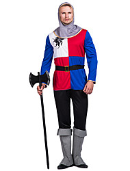 cheap -Warrior Cosplay Costume Adults' Men's Medieval Halloween Halloween Carnival Masquerade Festival / Holiday Polyster Red Carnival Costumes Patchwork