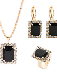 cheap -Women's Crystal Drop Earrings Pendant Necklace Bridal Jewelry Sets Classic Elegant Rhinestone Earrings Jewelry Black / Green / White For Wedding Ceremony Festival 4pcs / pack / Open Ring