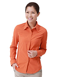 cheap -Women's Hiking Shirt / Button Down Shirts Long Sleeve Outdoor Breathable Quick Dry Stretchy Roll up Sleeves Shirt Top Autumn / Fall Spring Chinlon Elastane Orange Camping / Hiking / Caving Traveling