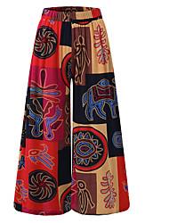 cheap -Women's Plus Size Daily Loose Wide Leg Pants - Color Block Orange Red Purple XXXL XXXXL XXXXXL