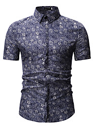 cheap -Men's Geometric Tribal Jacquard Print Shirt Classic Collar Blue / Gray