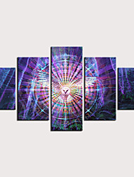 cheap -Print Stretched Canvas Prints - Abstract Animals Classic Modern Five Panels Art Prints
