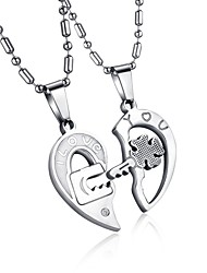 cheap -Men's Women's Clear AAA Cubic Zirconia Pendant Necklace Geometrical Broken Heart Heart Letter Hollow Heart Relationship Elegant Hip-Hop Steel Stainless Silver 50 cm Necklace Jewelry 2pcs For Wedding