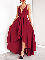 cheap -A-Line V Neck Asymmetrical Chiffon Minimalist / Red Cocktail Party / Holiday Dress with Pleats 2020