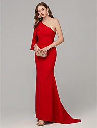 cheap -Mermaid / Trumpet Sexy Red Engagement Formal Evening Dress One Shoulder Sleeveless Sweep / Brush Train Crepe Jersey with Draping 2020