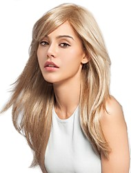 cheap -Human Hair Wig Long kinky Straight Side Part Blonde Fashionable Design Soft Cool Capless Women's Beige Blonde / Bleached Blonde 24 inch / Natural Hairline / Natural Hairline