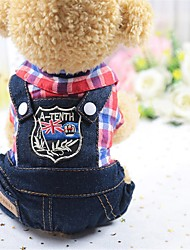 cheap -Dogs Jumpsuit Dog Clothes Green Red Blue Costume Cotton Plaid / Check Casual / Daily L XL