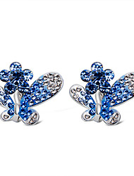 cheap -Women's Clear Blue Crystal Clip on Earring Butterfly Stylish Trendy Cute bridesmaid Imitation Diamond Earrings Jewelry Silver For Engagement Evening Party Formal 2pcs