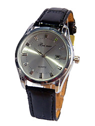 cheap -Couple's Wrist Watch Quartz Leather Black Large Dial Analog Casual Fashion - Silver One Year Battery Life