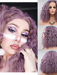 cheap -Synthetic Lace Front Wig Curly Short Bob Braid Lace Front Wig Short Bright Purple Synthetic Hair 14 inch Women's Women Purple