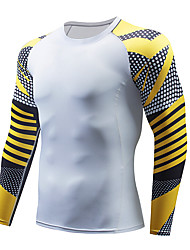 cheap -Men's Compression Shirt Long Sleeve Compression Base Layer T Shirt Top Plus Size Lightweight Breathable Quick Dry Soft Sweat-wicking Red and White Black / Red Black / Yellow Nylon Winter Road Bike