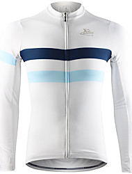 cheap -Mountainpeak Men's Long Sleeve Cycling Jersey Winter Fleece Spandex Black White Sky Blue Bike Jersey Top Thermal / Warm Moisture Wicking Quick Dry Sports Clothing Apparel / Stretchy