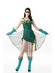 cheap -Cosplay Dress Cosplay Costume Adults' Women's Dresses Halloween Halloween Carnival Masquerade Festival / Holiday Tulle Polyster Green Carnival Costumes Patchwork