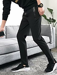 cheap -Men's Running Pants Track Pants Sports Pants Beam Foot Drawstring Cotton Sports Bottoms Gym Workout Lightweight Quick Dry Plus Size Solid Colored Black / Micro-elastic