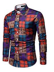 cheap -Men's Shirt - Color Block Red